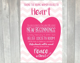 LDS Young Women New Beginnings Invitation 2018 | YW in Excellence | Peace in Christ | Taking the Young Women Values to heart