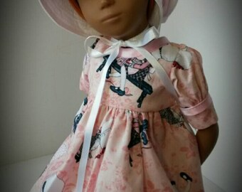 Holly hobby print dress for Sasha with hat or without hat