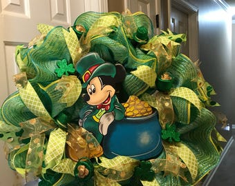 Mickey Mouse St. Patrick's day wreath .