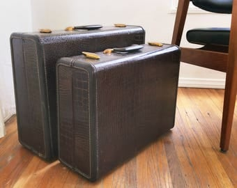 Pair of 1940's Samsonite embossed alligator print suitcases