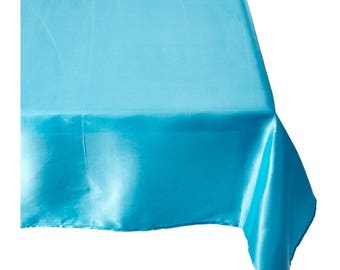 Turquoise Satin Wedding Linentablecloth 60 By 102 Inch Rectangular Satin,  Wrinkle Resistant Quality Tablecloth For