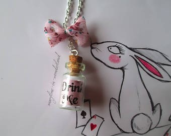 """light pink """"Drink Me"""" vial necklace"""