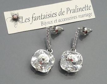 Boucles d'oreilles mariage, boucles d'oreilles cristal strass, clous d'oreilles bijoux mariage cristal, boucles d'oreilles mariées zircons