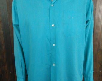 Vintage 60's men's Penney's Towncraft Plus blue turquoise shirt long sleeve size Medium