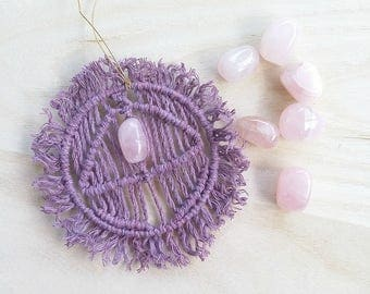 Healing crystal Wall Hanging Rose quartz Amulet talisman  Love attracting Gift for her Purple crown  chakra  Small macrame hanger Car charm