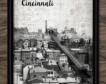 Vintage Cincinnati Art Print - Cincinnati Cityscape - Cincinnati Ohio United States - Ohio River #2502 - INSTANT DOWNLOAD