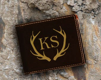 Monogram-Engraved Bifold Wallet - Personalized Hunting-Full Size Art Work-Black Wallet-Engraves Gold-Personalized Antlers 2