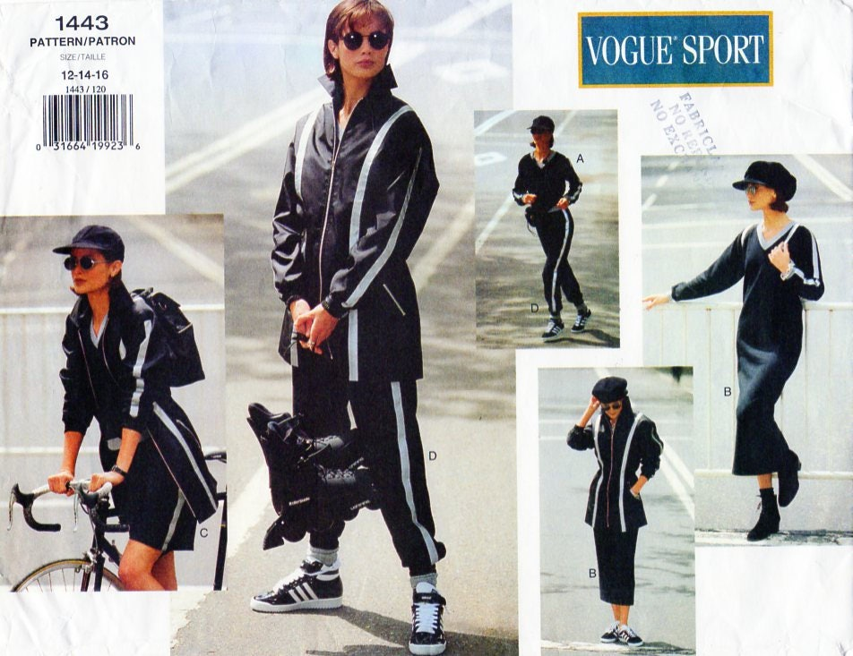 1990s Vogue Sport pattern featuring Carolyn Murphy - jacket, dress, top, shorts & pants V1443