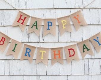 Happy Birthday Burlap Banner, Happy Birthday Bunting, Happy Birthday Banner Personalized, Rustic Birthday Decorations, Rainbow Birthday