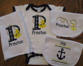 Nautical Baby Onesie, Nautical Baby Gift, Mongramed baby boy gown, Nautical Baby Gown, Nautical Baby Set