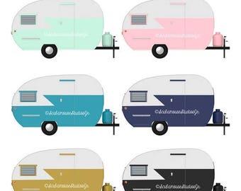80% OFF SALE Mini Camper Clipart, Retro Clip Art, Vintage Camper, travel clipart, retro trailers, commercial use, digital scrapbooking