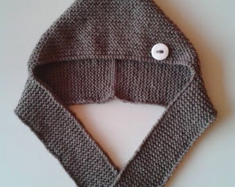 Hat-scarf(Hat-sling,Cap-scarf) baby birth in 24 months brown woolen hand-made knitting(sweater)