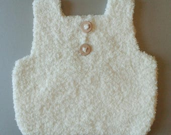 Sleeveless pullover docker baby birth in 24 months hand-knitted woolen ecru with buttonhole