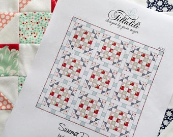 """Summer Picnic Quilt Pattern - Finished Size 50.5"""" x 50.5"""" - Only 5 FAT QUARTERS - Quilt Patterns - PDF Instant Download"""