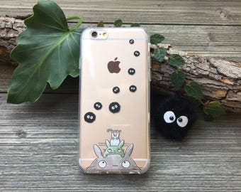 Totoro and Soot Sprites iPhone Case, Your choice of Soft Plastic (TPU) or Wood