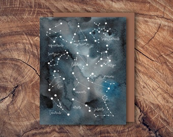 Constellation Greeting Card | zodiac | astrology | watercolor