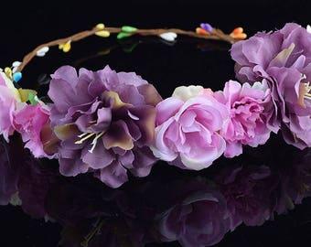 READY To Ship, Flower Crown, Flower Wreath, Boho Wedding, Bridesmaid Flower Crown, Boho headpiece , Flower Girl Crown