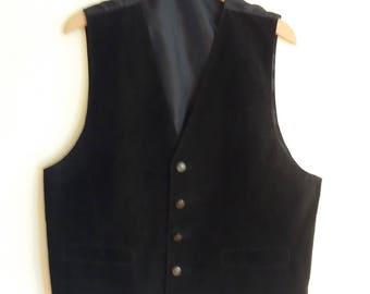 Genuine Suede Black Leather Gentlmen Pushbuttons Vest