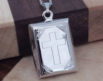 Medium size locket, cross bible book locket, religious square locket, sterling silver picture locket necklace, Religious locket necklace