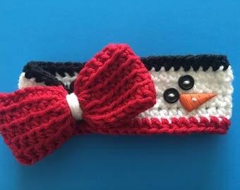 Crochet Baby Holiday Headband/ Earwarmer with Bow, Snowman