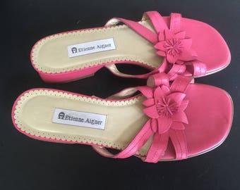 REDUCED! Etienne Aigner pink slide sandals size 9 m