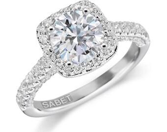 Moissanite Engagement Ring 1.50ct Round Forever One Moissanite Ring .78ct Natural Diamond Halo Ring 18k white gold pristine custom rings