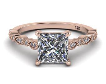 Forever One Moissanite Engagement Ring 1.92ct Princess Cut 14k Rose Gold Wedding Ring Deco Ring .07ct Diamonds Pristine Custom Rings