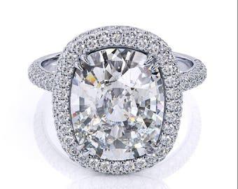 Harro Gem Moissanite Ring 3.25ct Long Cushion Cut Crushed Ice Moissanite Ring .65ct Diamond Accents White gold Pristine Custom Rings