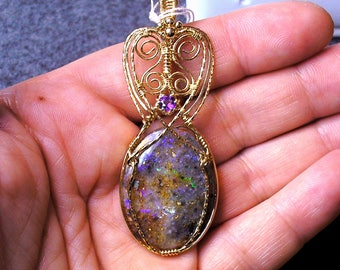 Louisiana Opal (Extremely Rare) Pendant with Amethyst - TONS of Fire!!! (lo140)