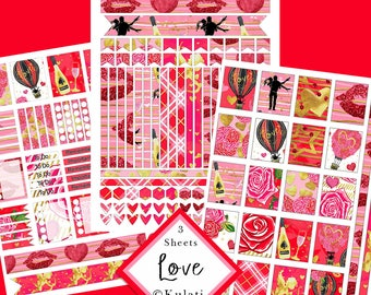 INSTANT DOWNLOAD - Valentine's Day / Date Night / Romance printable planner stickers, Eclp stickers, POD planner stickers, planner printable