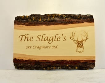 Personalized Name and Address Bark Edge Sign