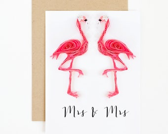 Lesbian Couple Card - Lesbian Wedding Card - Mrs and Mrs - Lesbian Shower Gift - Pink Flamingo Lesbian Pride Gift - lgbt Gay Wedding Card