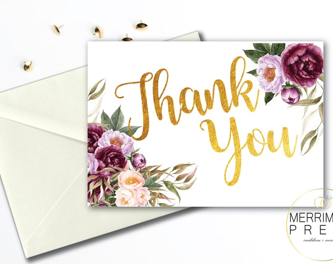 Burgundy Thank You Card // Floral Watercolor Thank You // Purple // Pink // Folded // A1 // Gold // Instant Download // FLORENCE COLLECTION