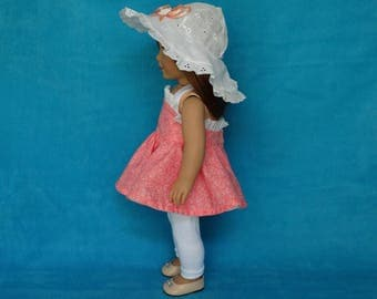 Handmade Halter Dress, Hat and Leggings to fit 18 in Dolls such as American girl doll clothes