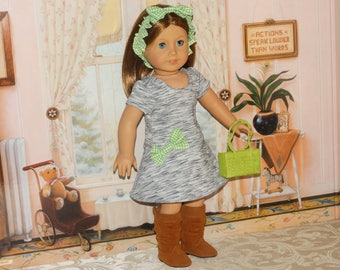 Handmade~ Knit Dress, Headband with purse included~ to Fit 18 in Doll Clothes such as american girl doll clothes