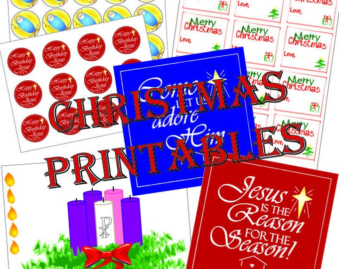 Christmas Printable Pack, Happy Birthday Jesus Toppers, Stickers, Christmas Decoration Gift Tags, Advent Weath, Christmas Graphics.