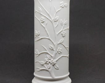 Plum Blossom; Embossed Vase; Glazed Interior; Approx. 3 x 7 in.; Elegant !!!