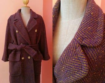 CELINE Coat Vintage Purple Wool Coat With Sleeve