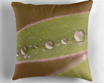Raindrop Decor, Leaf Pillow Cover, Leaves Pillow Cover, Green Pillow, Raindrop Pillow, Lupin Leaves, Rain Drop Pillow, Gardeners Gift