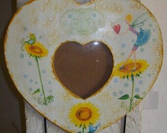 Heart photo with 3 hooks door deco sunflower