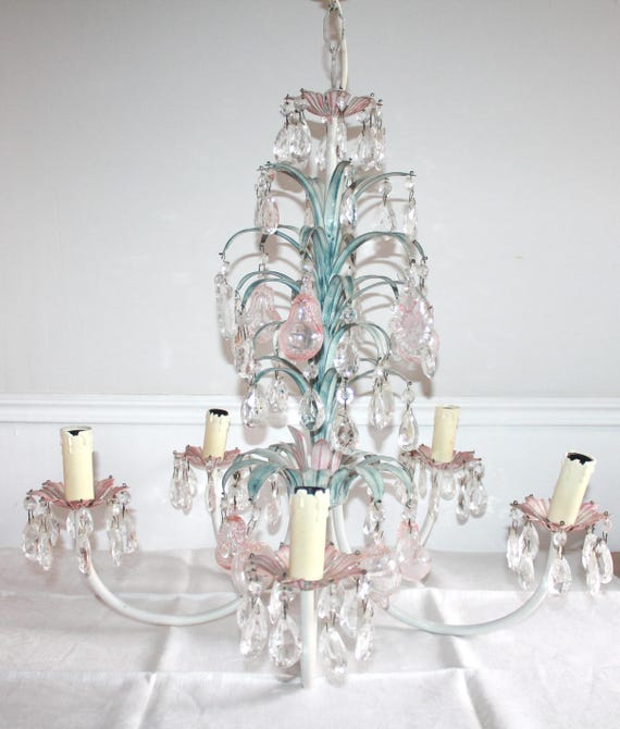 Beautiful vintage tole chandelier french toleware flower like this item mozeypictures Images