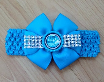 Diamond Headband, Baby Girl Headband, Bling Headband, Blue Headband, Baby Hair Accessory, Baby Headband, Bling Hairbow, Diamond Hairbow