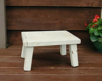 Primitive Stool, Old 4 Leg Wooden Stool, Low Wooden Bench, Rustic Milking Stool, White Wooden Plant Stand