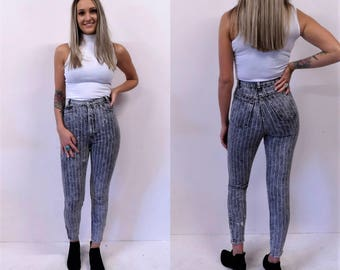 High Waist PInstripe Jeans/ 24 waist acid wash high waisted denim skinny jeans ankle zip 80s x-small/small