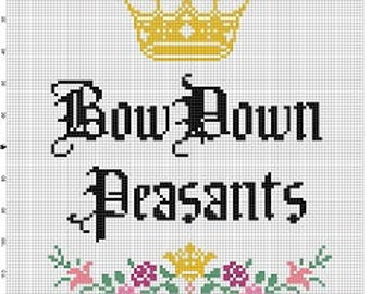Bow Peasants  - Funny Motivational Modern Subversive Cross Stitch Pattern - Instant Download