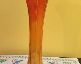 Imperial Beaded Bullseye Marigold Carnival Glass Vase