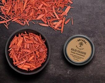 Orange Sandalwood Solid Cologne in a Travel tin, Handmade Vegan Cologne, Alcohol Free, Men's Cologne, Natural pocket cologne