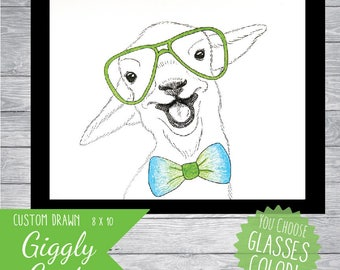 Baby goat with glasses & bowtie *custom color* 8x10