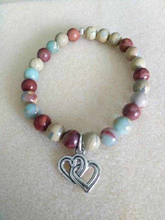Sea Jasper and Double Heart Charm Stretch Bracelet  B61517108