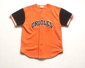 90s STARTER Baltimore Orioles arch spell out mlb baseball jersey button up throwback size XL